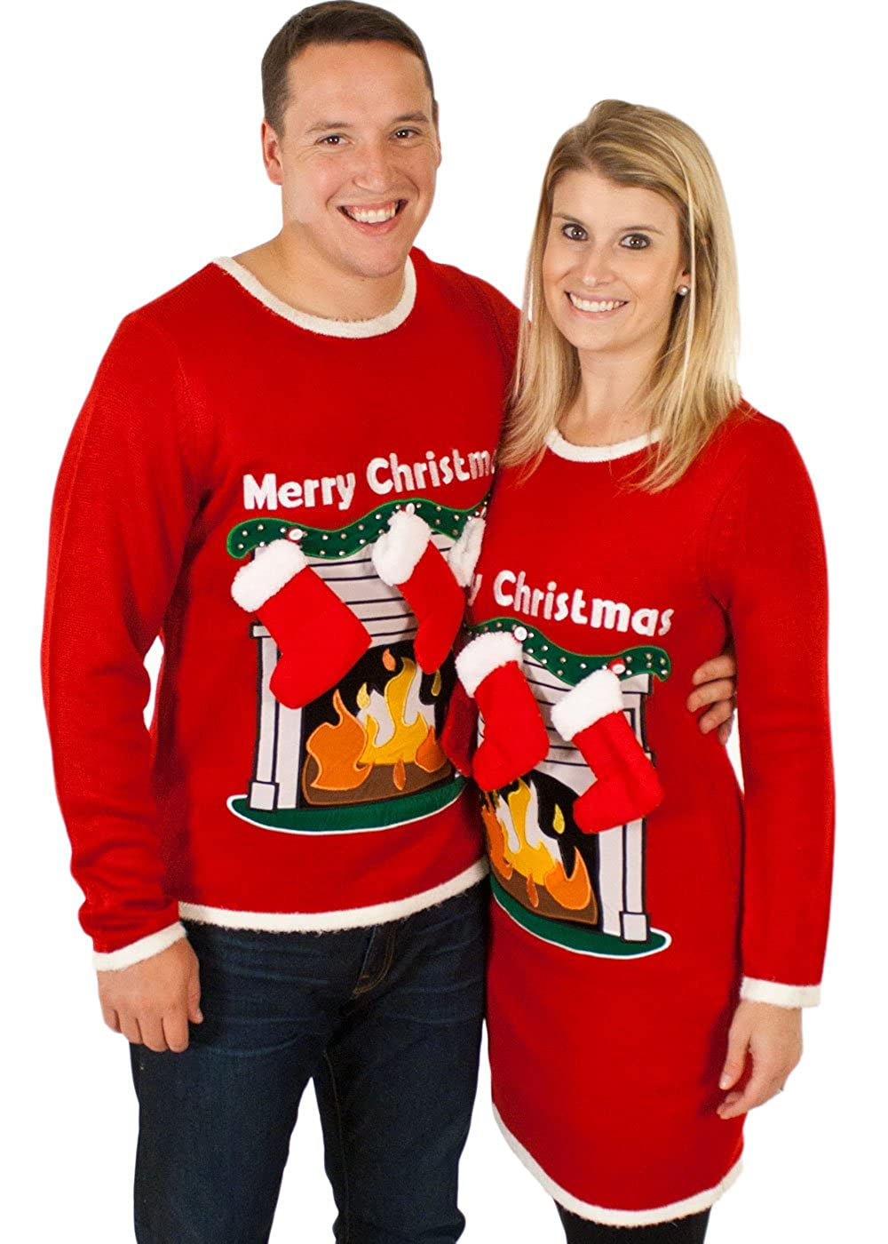 Amazon.com: Ugly Christmas Sweater - Lighted LED Fireplace Sweater ...