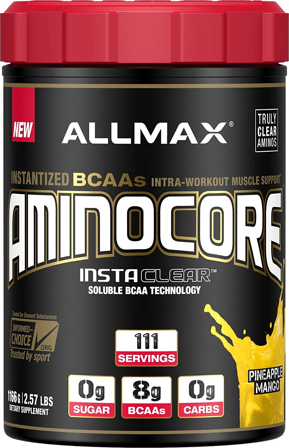 ALLMAX Nutrition Aminocore BCAAs, 100 Pure 45 30 25 Ratio, Pineapple Mango, 1166g