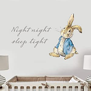 Peter Rabbit Wall Sticker Night Night Sleep Tight Sitting Down Kids Wall Decal Vinyl Sticker Bedroom Mural (90cm Width x 60cm Height)