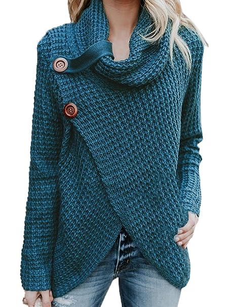 ... Mujeres Suéter Moda Slim Irregular Prendas de Punto Tops Jumper Remata  Casual Cuello Alto Jerséis de Manga Larga Pulóver Blusa Sweater  Amazon.es   Ropa ... 6b268bdbce55