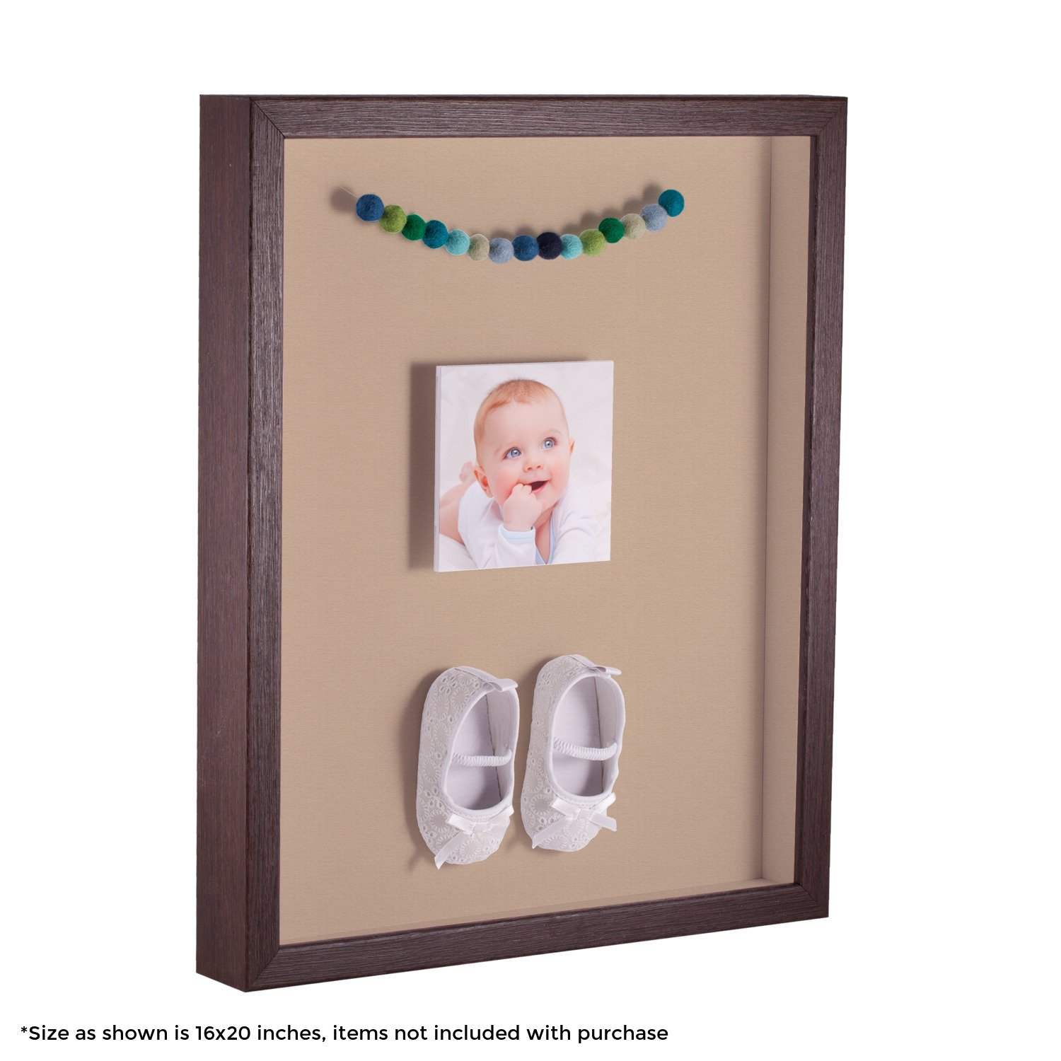 ArtToFrames 15 x 18 Inch Shadow Box Picture Frame, with a Verlinga Brown 1'' Shadowbox Frame and Scotch Mist Mat