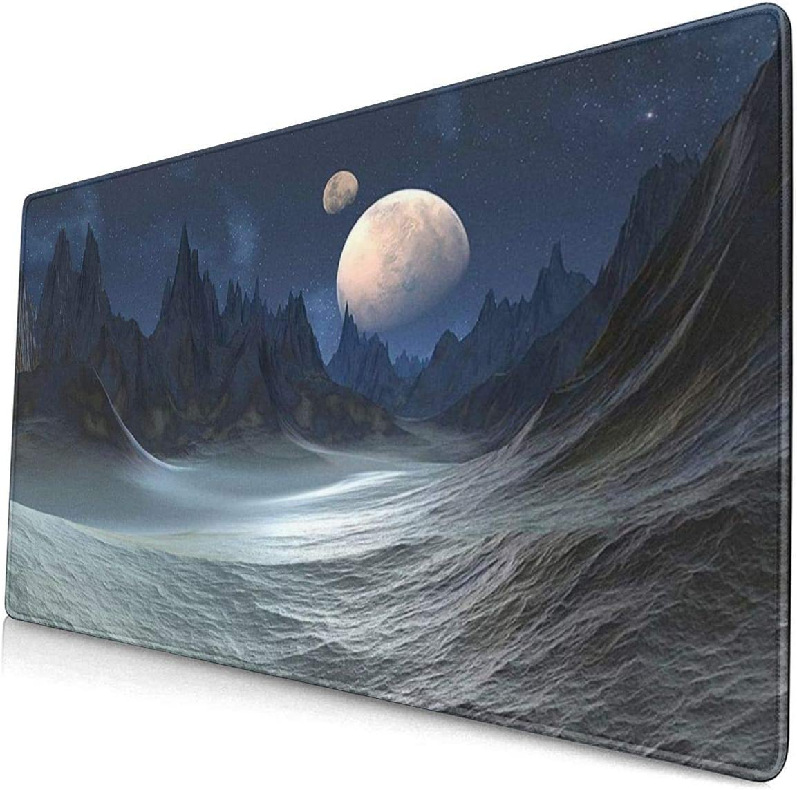 Non-Slip Rubber Mouse Pad For16x30 in Sci Fi Landscape Moon Scene Space Mountain Gaming Mouse Pad