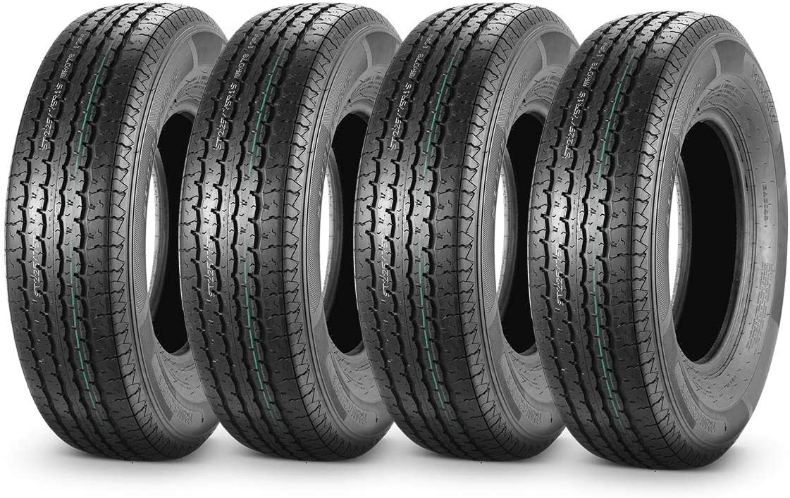 MaxAuto 4PCS Trailer Tires 225/75R15 10 Ply Load Range E Radial Perfect Tread Pattern for Heavy Duty 15 Inch Rim Travel Tractor Camper Trailers