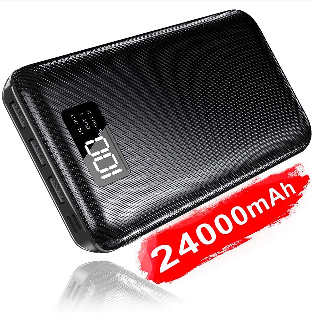 Portable Charger Power Bank 24000mAh - High Capacity with LCD Digital Display,3 USB Output & Dual Input External Battery Pack Compatible with Smart Phones,Android Phone,Tablet and More (Black)