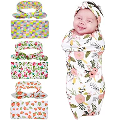 956e4471e Bigface Up Set of 1 or 3 Swaddle Sack,Newborn Baby Sleep Blanket With  Headband
