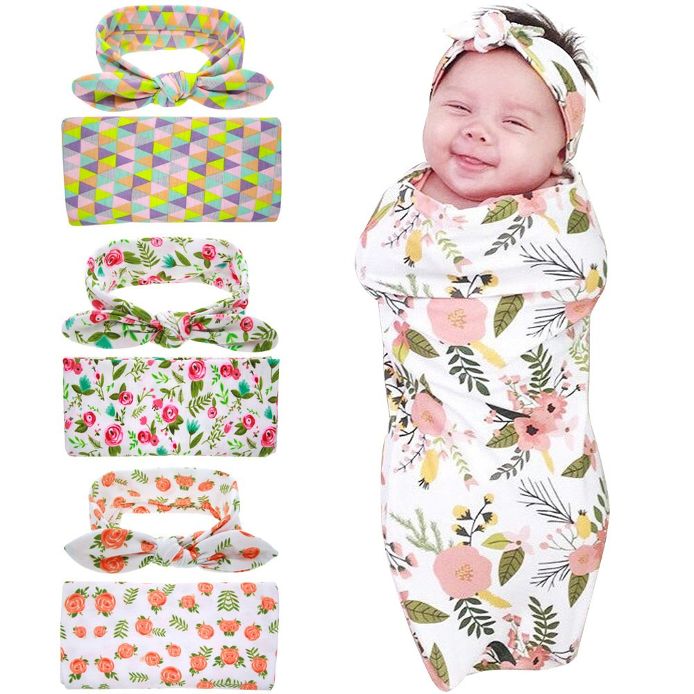 Bigface Up Set of 1 or 3 Swaddle Sack,Newborn Baby Sleep Blanket With Headband 3 sets