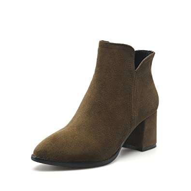 Women's Western Leather Ankle Boots Pointed Toe Booties Sied Zipper