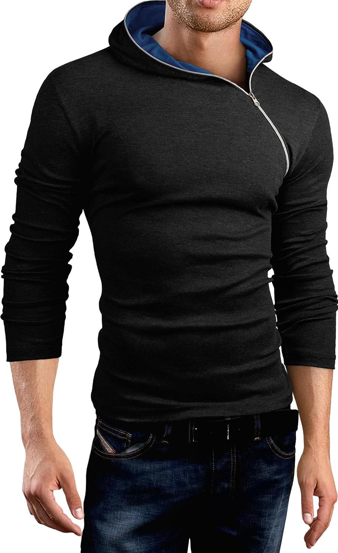 Grin/&Bear Slim Fit sweat-shirt /à capuche fermeture /éclair asym/étrique BH135