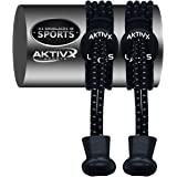AKTIVX SPORTS No Tie Shoelaces, Elastic Laces that Lock, Replacement Shoelaces, Running Gear Accessories, Shoe Laces for Running, Athletic, Mens, Womens, Kids Shoes, Black