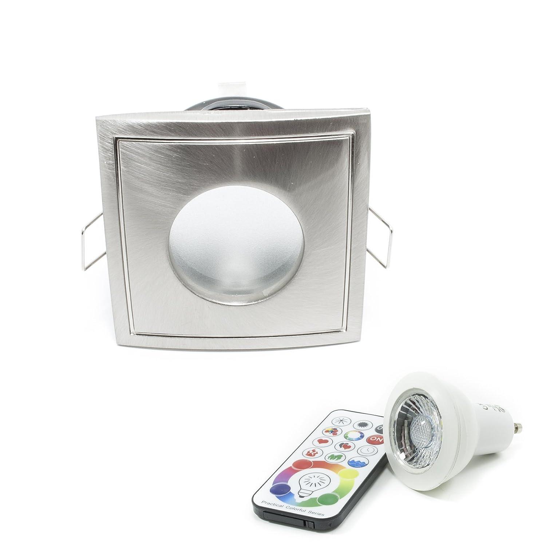 Faretto quadrato IP65 LED 6W RGBW RGB WHITE cromoterapia box doccia bagno turco Planetitaly