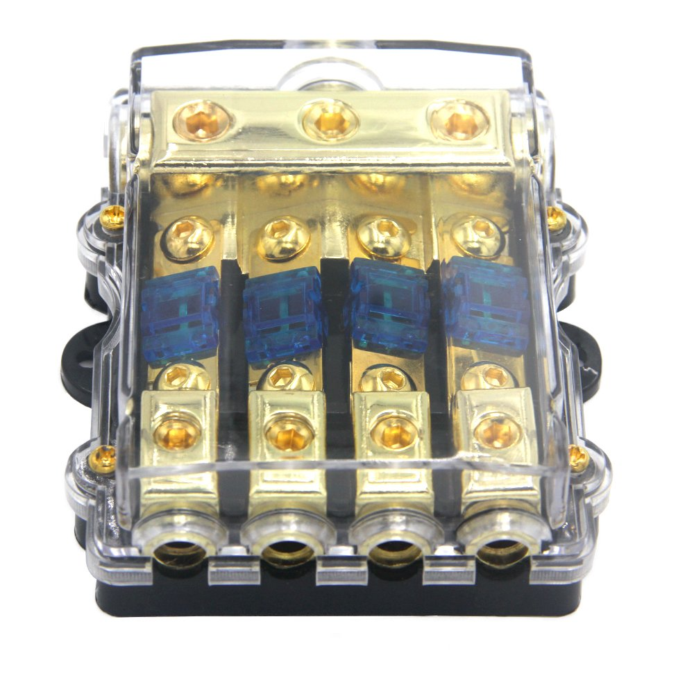 ZOOKOTO Power Distribution Block (4 - way), 6/8 AWG Gauge AGU Fuse Holder Distribution Block 2/4 Gauge In to (6) 8 Gauge Out with 60A MANL Fuses by ZOOKOTO (Image #3)