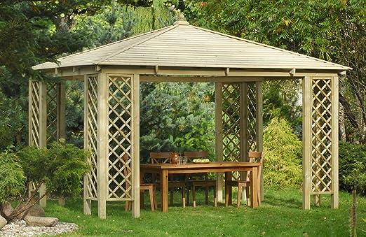 Amplio quiosco rectangular de madera para jardín. Dimensiones: 4 ...