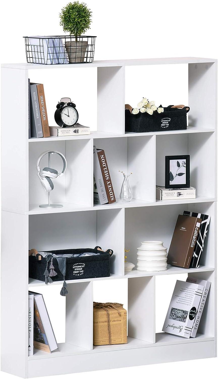 HOMCOM Estantería Librería de 4 Niveles con 10 Compartimentos Estantes de Almacenaje Multiusos para Libros Plantas 100x23,8x140 cm Blanco