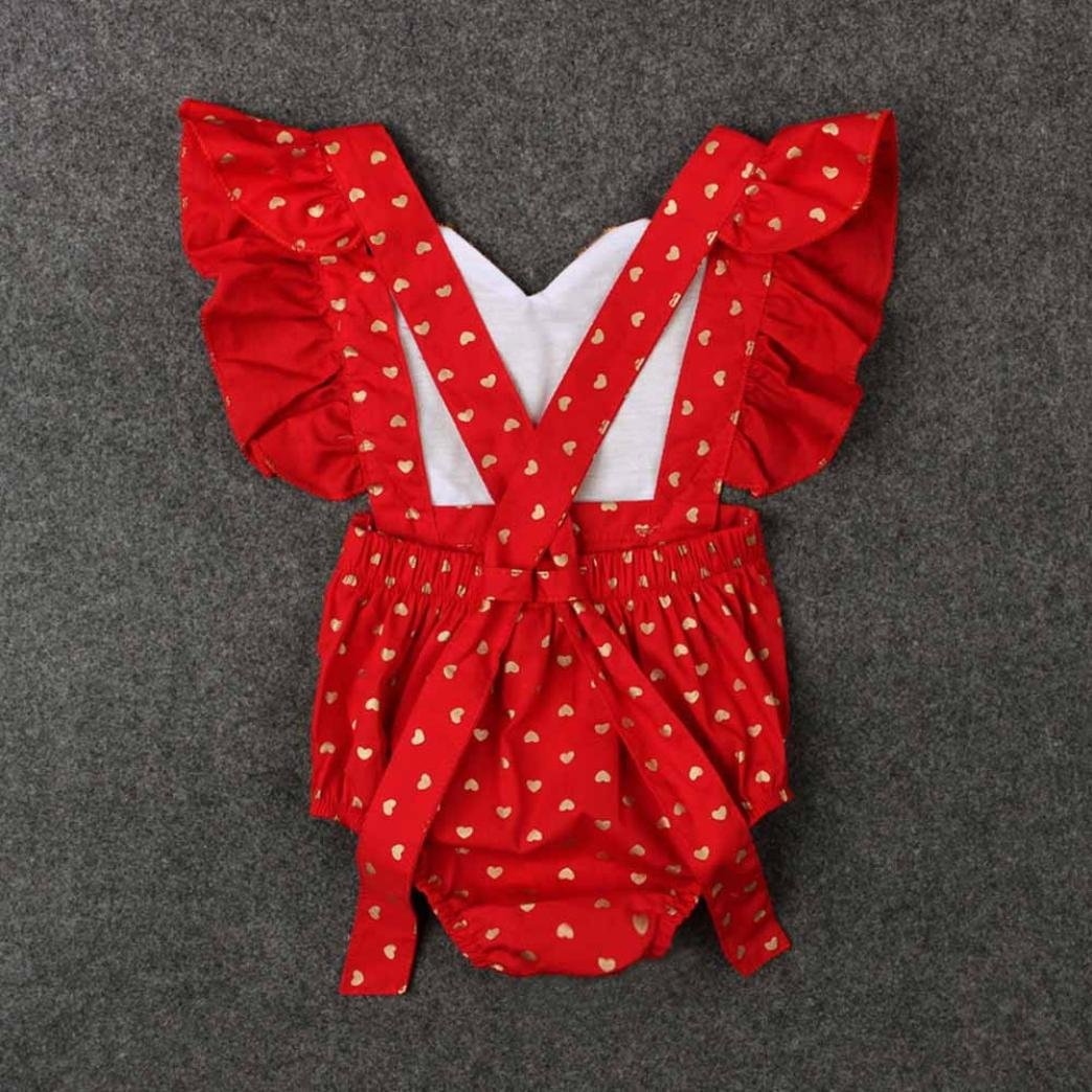 JUNNEY/_Newborn Infant Bodysuit Jumpsuit Sequins Love Heart Outfits