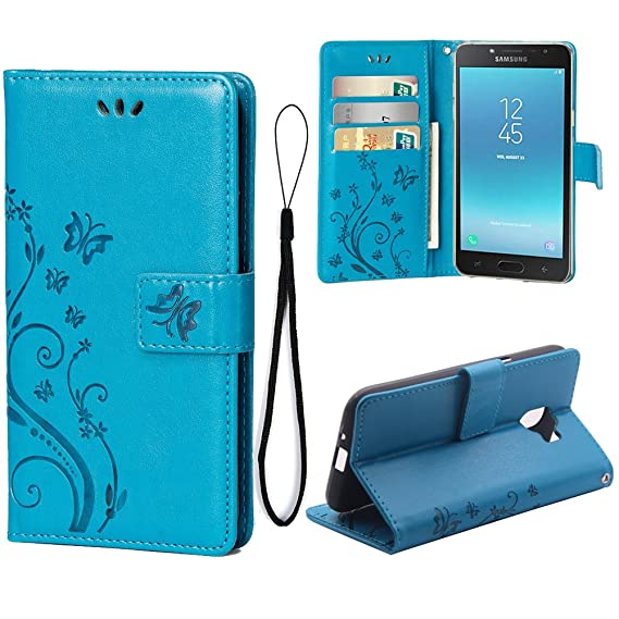 online store 75425 4be8b Wallet Case for Samsung Galaxy J2 PRO (2018), 3 Card Holder Embossed  Butterfly Flower PU Leather Magnetic Flip Cover for Samsung Galaxy J2 PRO  ...
