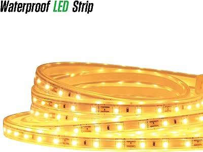 LUXJET 12V 16.4ft LED Rope Lights Under Cabinet Strip Light Kit, IP65 Waterproof 2835SMD 300LEDs, 3000K Warm White for Indoor Outdoor, Restaurant Bar, Home Kitchen Closet Lighting (3)