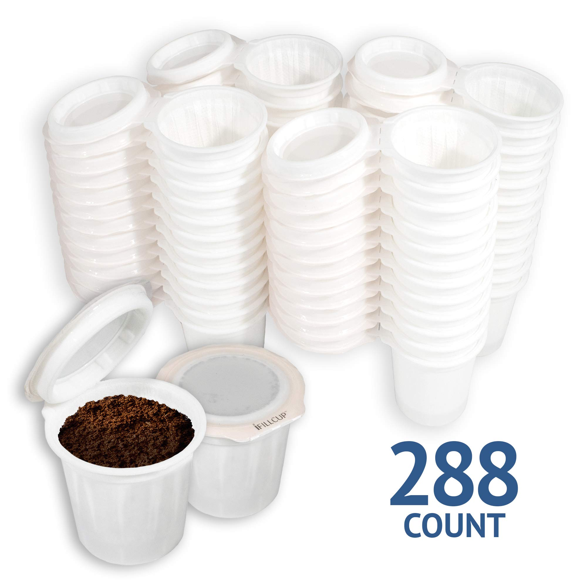 iFillCup pre-assembled Single Serve, fill your own Pods. 100% recyclable for use in all k cup brewers including 1.0 & 2.0 Keurig. 288 iFill Cup airtight seal in freshness pods.