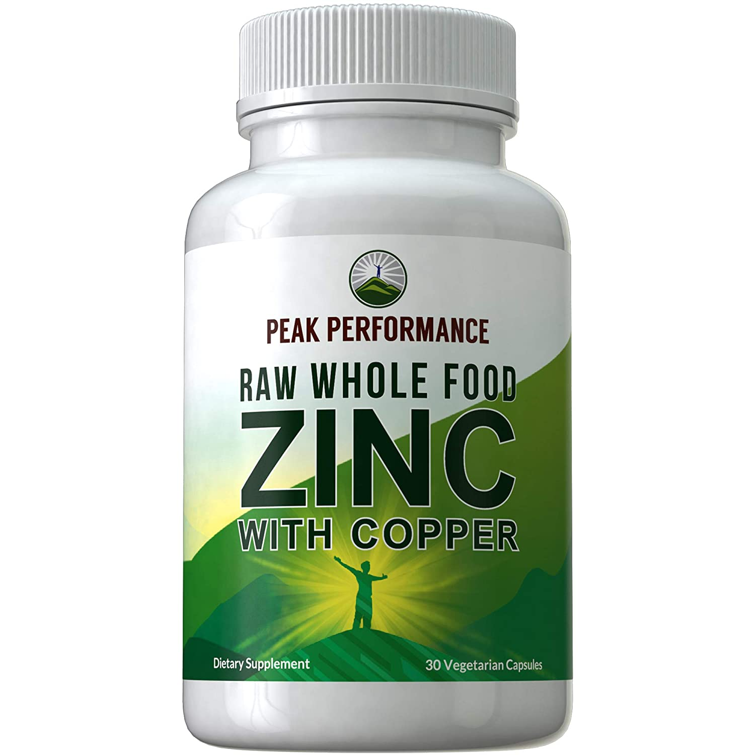 Raw Whole Food Zinc Supplement + Copper by Peak Performance. Two Essential Minerals for Antioxidant and Immune Support + 25 Organic Fruit and Vegetable Ingredients. Vitamin Capsules, Pills, Tablets