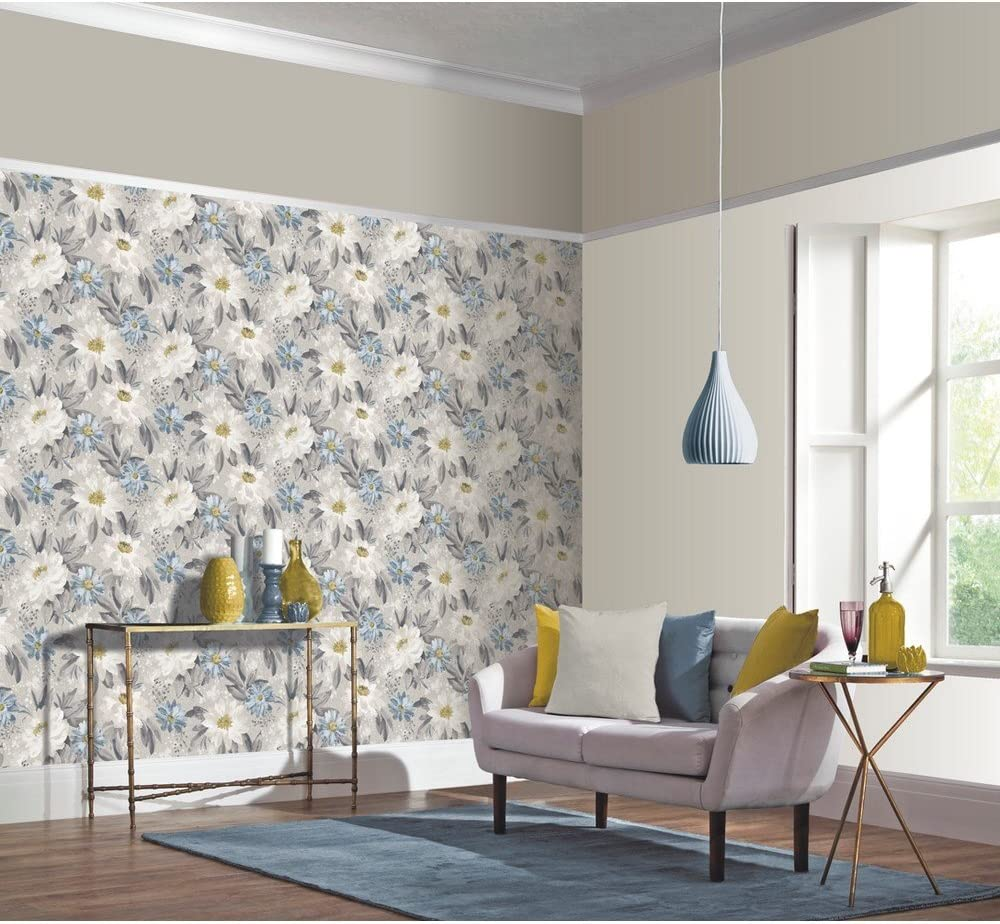 Arthouse Painted Dahlia Grey /& Blue Floral Wallpaper 676105