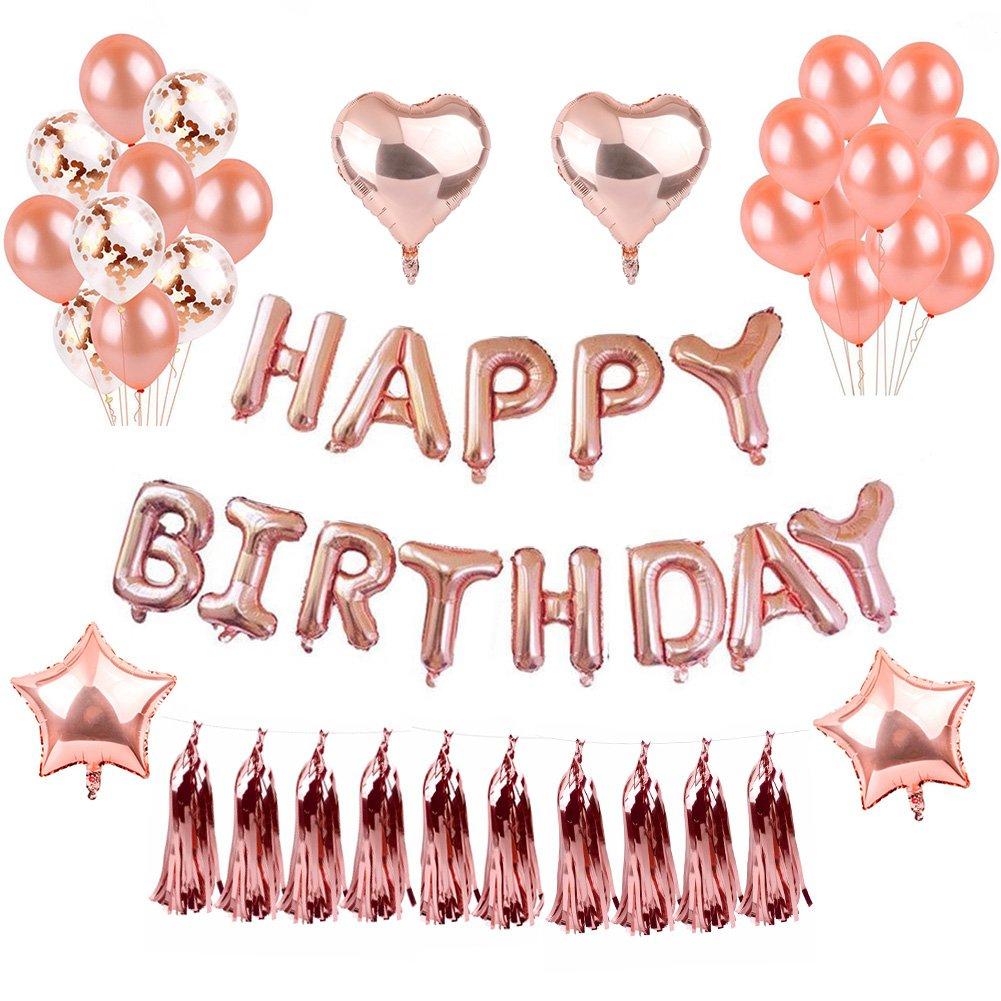 Happy Birthday Decorations, Yoart Happy Birthday Banner Birthday Balloons Birthday Party Decorations Set Kit Balloon for Birthday Decor (Rose Gold)