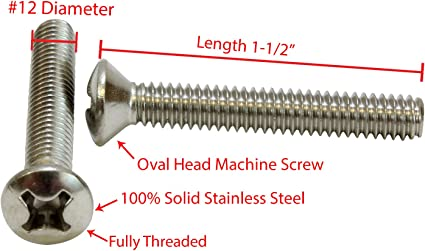 Oval Head Phillips Machine screws Stainless Steel  8-32 x 2-1//2 Qty-25