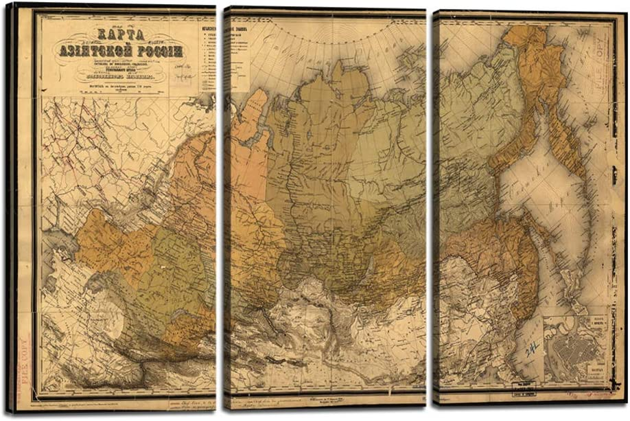 3 Piece Wall Art Vintage World Map of Russia Canvas Painting Print Home Decor Russian Language Picture Poster Artwork for Living Room Bedroom Office Stretched and Framed Ready to Hang (24''H x 36''W)
