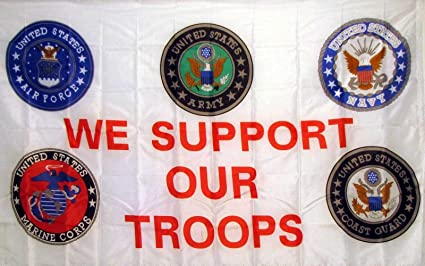 Amazon Com Neoplex We Support Our Troops 5 Logos Traditional Flag Garden Outdoor