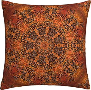 Antvinoler Decorative Square Throw Pillow Cover Cushion Covers Pillowcase,Retro Floral Mandala Compass Medallion Home Decor Decorations for Sofa Couch Bed Chair 18x18 Inch/45x45 cm