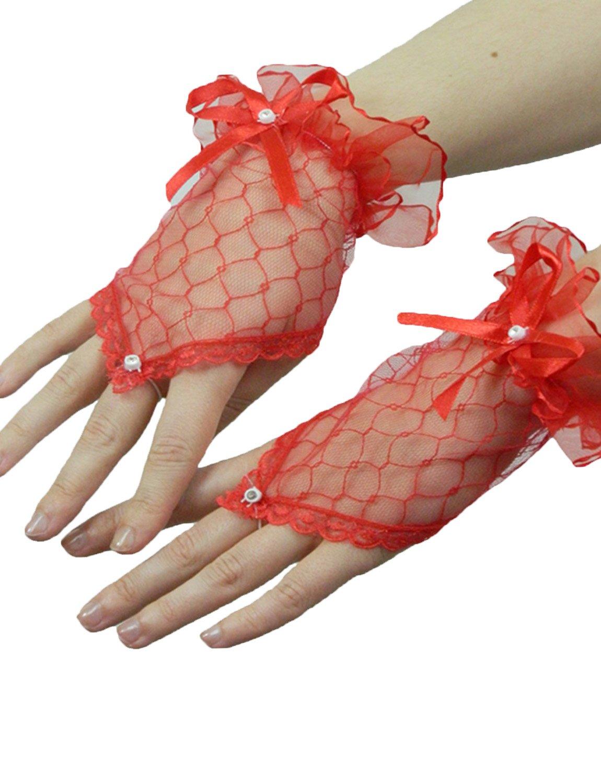 Yummy Bee Kurze Fingerlose Handschuhe mit Spitze Karneval Fasching Kostüm Hochzeit Abend Damen (Rot) 5060320175036