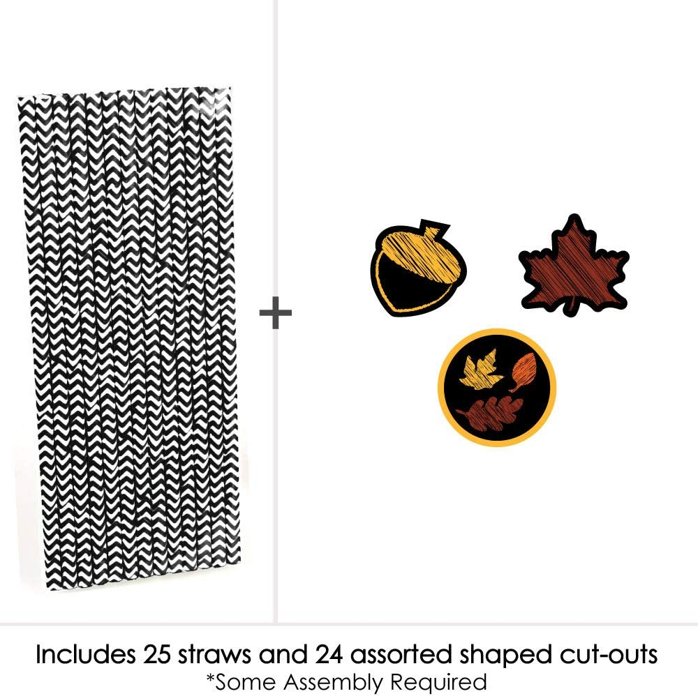 Set of 24 Fall Party Striped Decorative Straws Fall Leaves Paper Straw Decor