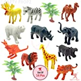 Party Propz Safari Animals Figures Toys, Realistic Jumbo Wild Zoo Animals Figurines Large Plastic African Jungle Animals Playset with Elephant, Giraffe, Lion, Tiger, Zebra for Kids Toddlers, 14 Piece Gift Set
