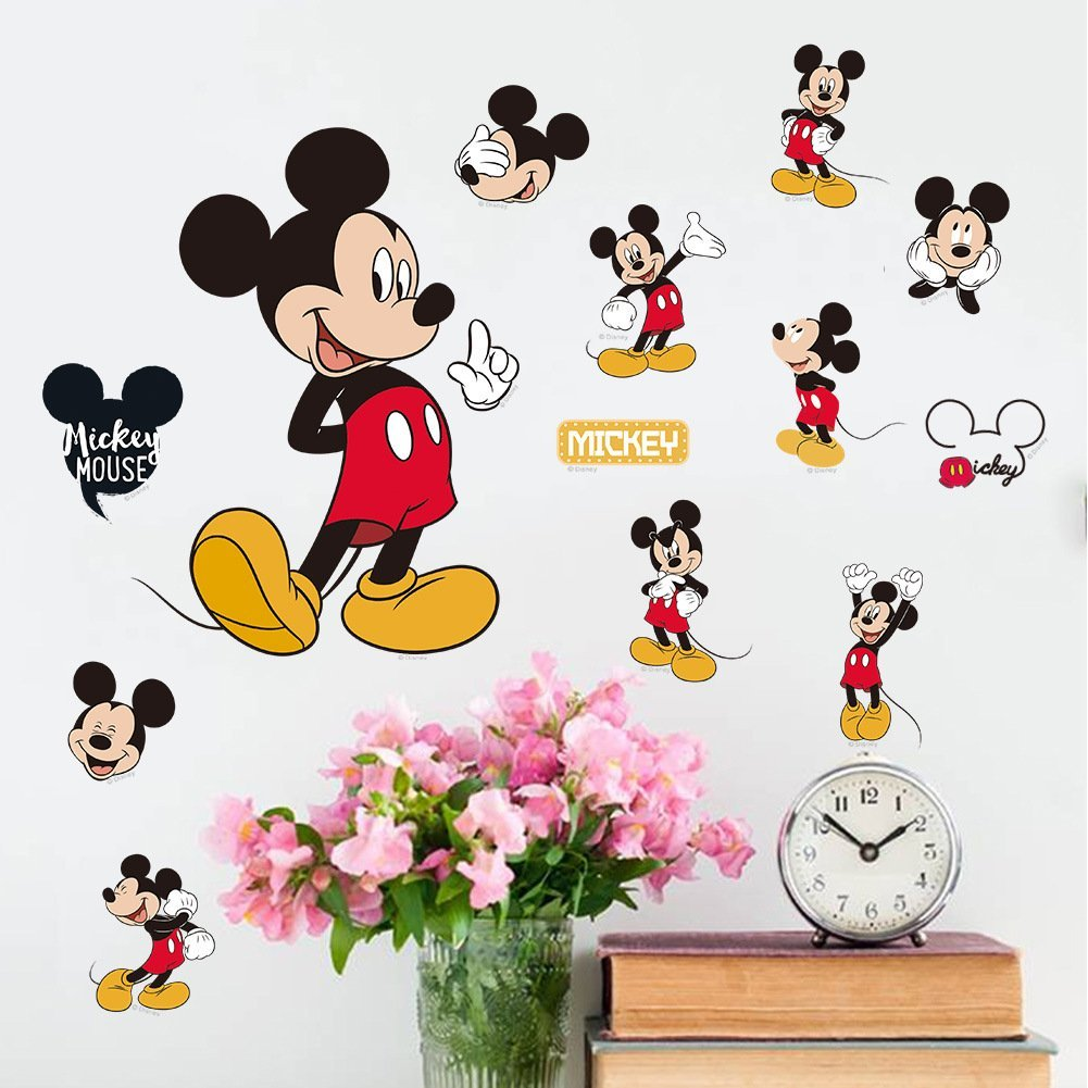 Amazon com fangeplustm diy disney mickey mouse classic removable art mural vinyl waterproof wall stickers kids room decor nursery decal sticker wallpaper