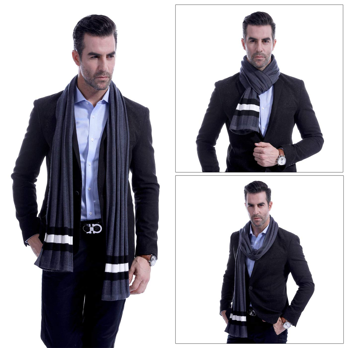Men Plain Thermal Scarf Knitted Striped Winter Scarves One Size Leisure Business Men Warm Neckerchief Gray by Panegy (Image #5)