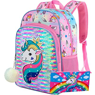 "Unicorn Backpack, 16"" Little Girls Sequin Preschool Bag : Baby"