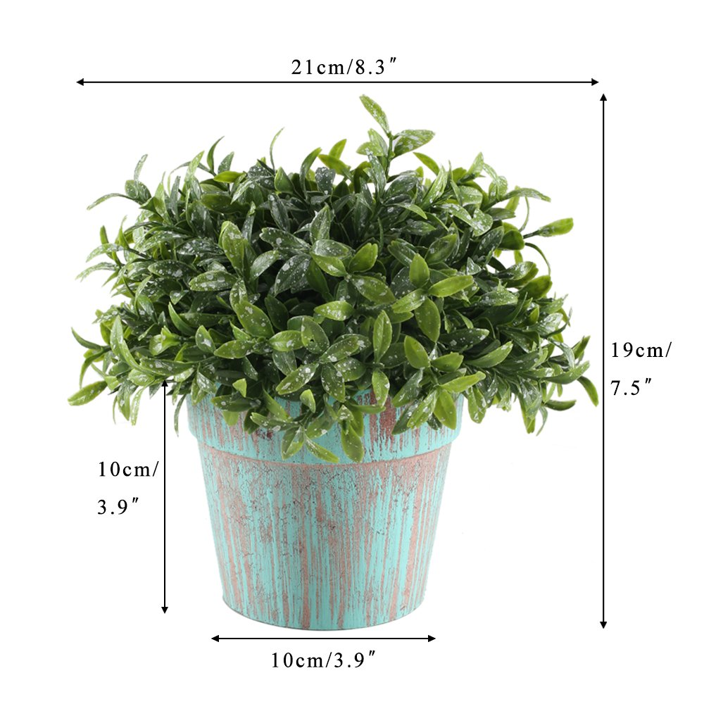 GTIDEA Fake Potted Plants Artificial Topiaries Greenery Bonsai Faux Plastic House Plants for Bathroom Home Kitchen Office Bookshelf Garden Feng Shui Decor in Vintage Wooden Pot by GTIDEA (Image #7)