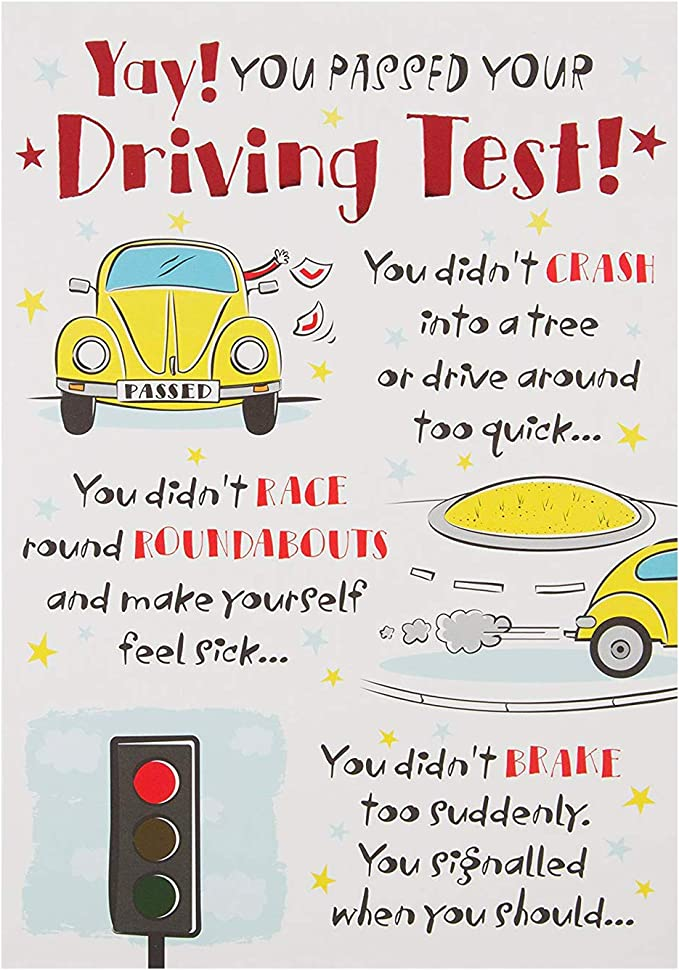 exam card driving test card Funny congratulations card for sister for him for her for brother funny card funny well done card