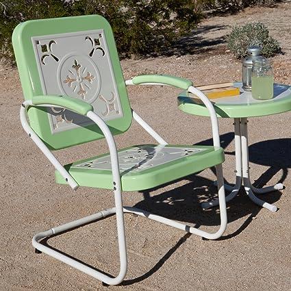 Amazon Com Coral Coast Paradise Cove Retro Metal Arm Chair Patio