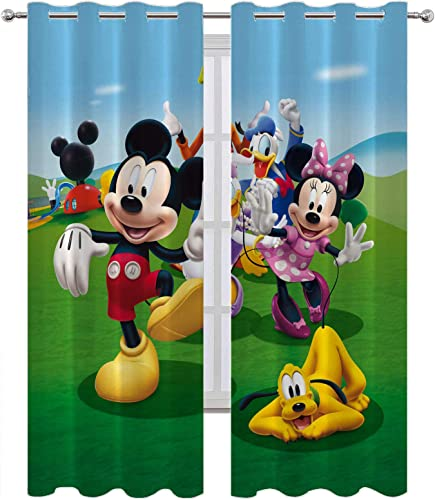 Editors' Choice: SSKJTC Wide Curtains Mickey Mouse and His Friends on The Lawn Blackout Curtains Panels