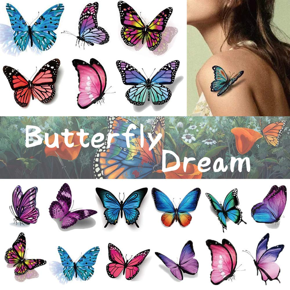 KARVIER Butterfly Tattoos for Kids Womens – 110 Pcs 3D Tattoos, Colorful Body Art Temporary Tattoos, Butterfly Party Favors