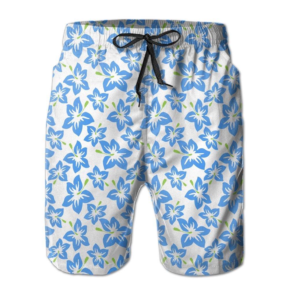 BaPaLa Mens Hibiscus Flowers Beach Shorts Casual Swim Trunks