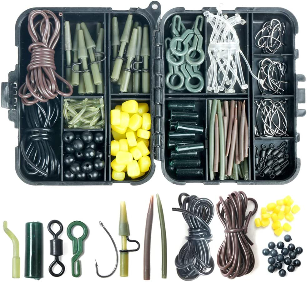 Allnice Carp Fishing Tackle Kit 213Pcs Fishing Accessories Kit Assorted Fishing Tackle Set Including Quick-Change Swivels Anti-Tangle Sleeves Safety Lead Clips Fishing Hooks Baits with Tackle Box