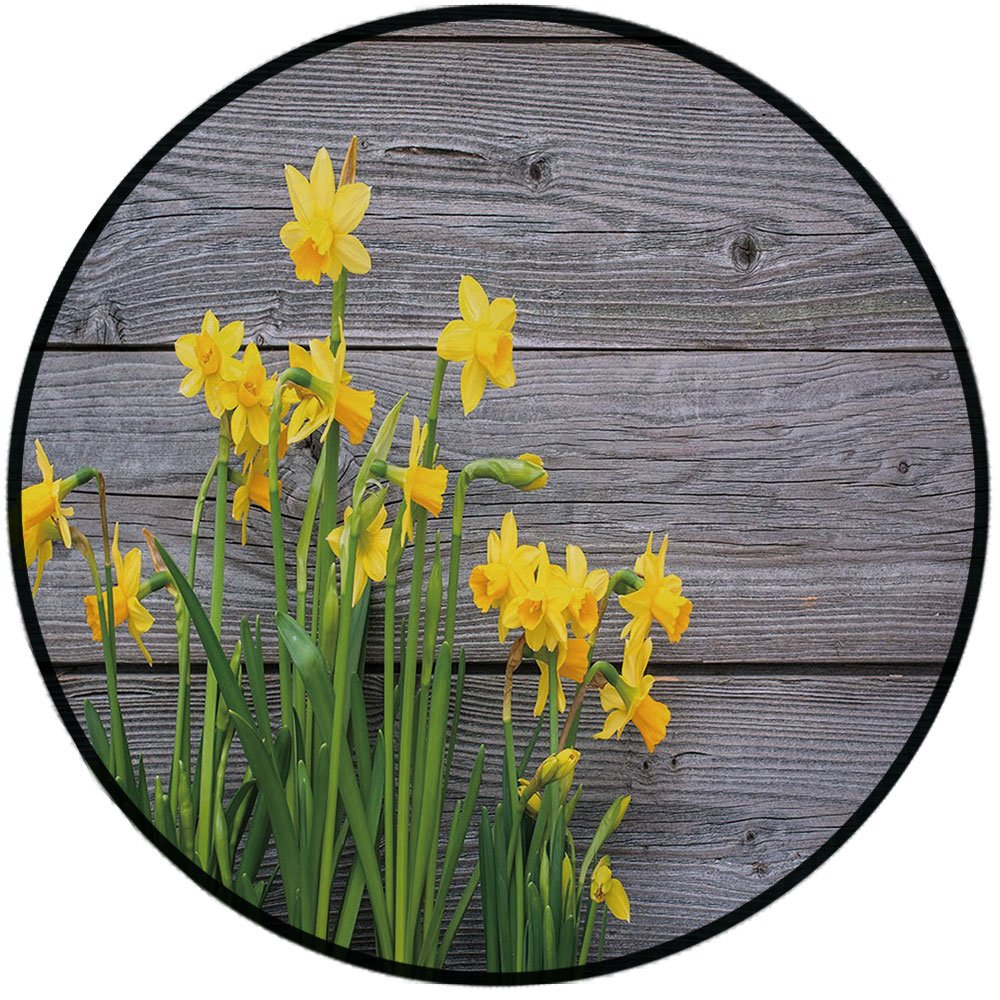 Printing Round Rug,Yellow Flower,Bouquet of Daffodils on Wood Planks Gardening Rustic Country Life Theme Mat Non-Slip Soft Entrance Mat Door Floor Rug Area Rug For Chair Living Room,Yellow Grey