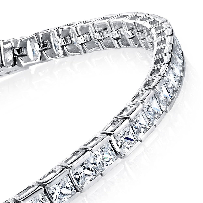 10 Carat 3mm Princess Cut Sterling Silver Modern Channel Set Tennis Bracelet Cubic Zirconia Diamond CZ