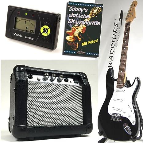 Warriors Guitarra eléctrica – color negro – Starter Set con Amplificador, LCD Afinador y libro