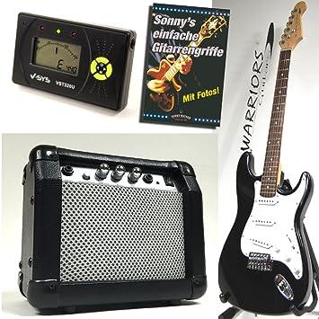 Warriors Guitarra eléctrica - color negro - Starter Set con Amplificador, LCD Afinador y libro: Sonny s sencilla ...