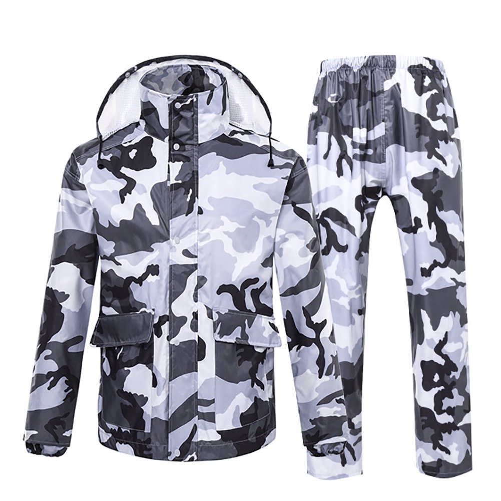 Spring Fever Men Women Motorcycle Rain Suit with Hideaway Hood Waterproof Raincoats Grey Camouflage Medium