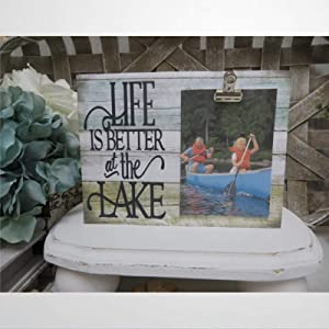 DONL9BAUER Lake Wood Sign Picture Frame, Life is Better at The Lake, Wall Art Hanging, Lake Family Photo Frame, Lake House Frame