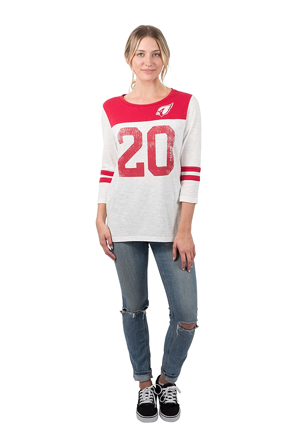 ad9ce024 Amazon.com : ICER Brands NFL Women's T-Shirt Vintage 3/4 Long Sleeve Tee  Shirt, White : Clothing