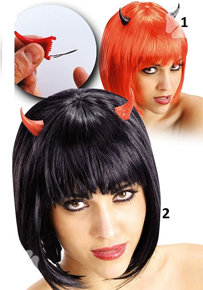 2 Corne de diable clips - Deguisement - Halloween - Noir Modele1 - 7585