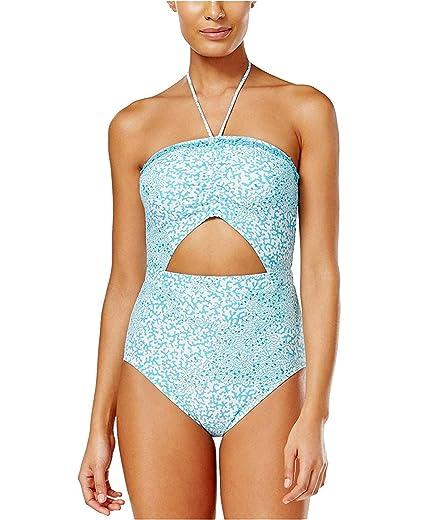 d890e585bfd1e Michael Kors Womens Lantana Printed Cutout One Piece Swimsuit Turquoise 4